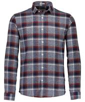 Checked Flannel Long Sleeved Shirt in Red and Grey