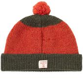 Nigel Cabourn Stripe Pom Pom Beanie in Orange