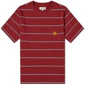 Kenzo Tiger Crest Stripe Pocket Tee in Red