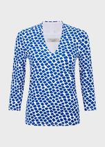 Aimee Printed V Neck Top in Blue