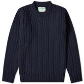 Inverallan 16P Cable Crew Knit in Navy