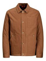 Button Up Worker Style Jacket in Brown