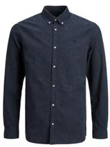 Long Sleeve Melange Shirt in Navy