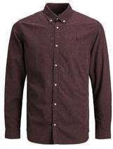 Long Sleeve Melange Shirt in Red