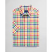 Regular Fit Short Sleeve Multi Gingham Broadcloth Shirt in Multicoloured