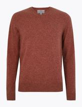 Pure Extra Fine Lambswool V-Neck Jumper in Red