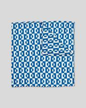 Abstract Geometric Print Pocket Square - Royal Blue & White in