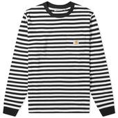 Carhartt WIP Long Sleeve Parker Stripe Pocket Tee in Black and White