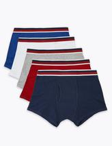 5 Pack Cotton Stretch Cool & Fresh™ Trunks in Red, White, Grey, Navy and Blue