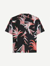 Cactus-print boxy-fit woven shirt in Black