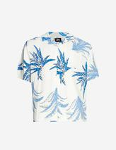 Cactus-print boxy-fit woven shirt in White