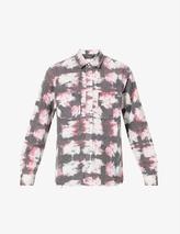 Watercolour tie-dye cotton shirt in Red
