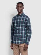 Steen Slim Fit Brushed Cotton Check Shirt In True Blue Marl in Blue