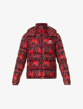 Logo-print shell-down puffer jacket in Red and Black