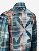 Stencil print check cotton-blend flannel shirt in Multicoloured