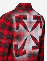 Stencil print check cotton-blend flannel shirt in Red and Black