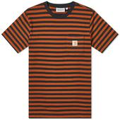 Carhartt WIP Parker Stripe Pocket Tee in Orange and Black