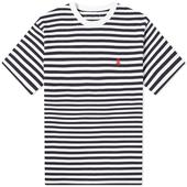 SOPHNET. Authentic Scorpion Border Tee in White and Navy