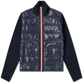 Moncler Tricolore Zip Down Knit Jacket in Navy