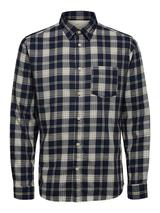 Regular Fit Long Sleeve Checked Shirt in Navy