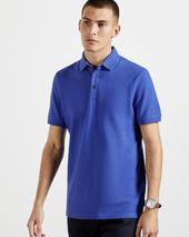 INFUSE Textured cotton polo in Blue