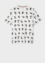 Men's White Oversized 'Numbers' Print T-Shirt in White