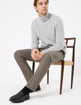 Slim Fit Micro Check Stretch Trousers in Neutral