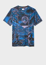 Men's 'Chile' Print T-Shirt in Black and Blue