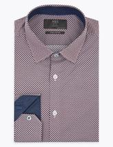 Tailored Fit Pure Cotton Geometric Print Shirt in Red
