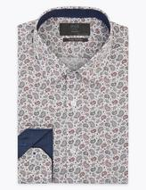 Tailored Fit Pure Cotton Paisley Shirt in White