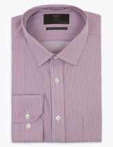Regular Fit Striped Non-Iron Shirt in Red