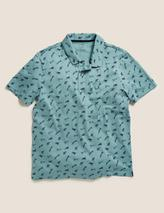 Pure Cotton Tiger Print Polo Shirt in Green
