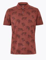 Pure Cotton Tiger Print Polo Shirt in Red