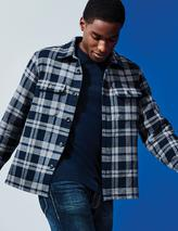 Cotton Checked Overshirt in Grey and Navy