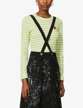 Heart-appliqué striped cotton-jersey top in Green