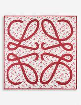 Floral-print silk scarf in Red
