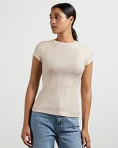 CATRINO Metallic fitted T-shirt in Neutral