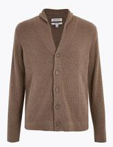 Pure Cashmere Shawl Neck Cardigan in Brown