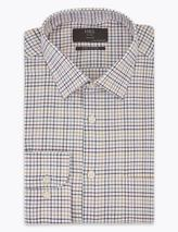 Regular Fit Brushed Cotton Checked Shirt in Red