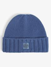 Logo-embroidered cab-knit wool beanie in Blue