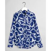 Crescent Floral Cotton Silk Shirt in Blue