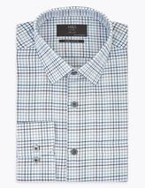 Regular Fit Brushed Cotton Checked Shirt in Blue