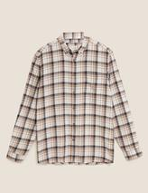 Pure Cotton Flannel Checked Shirt in Neutral