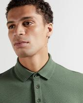 INFUSE Textured cotton polo in Green