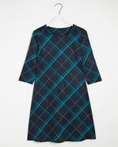 Navy Check 3/4 Sleeve Swing Dress in Navy
