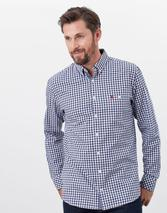 Abbott Long Sleeve Classic Fit Peached Poplin shirt in White and Blue