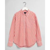 Relaxed Crisp Cotton Shirt in Red and White