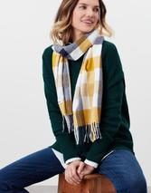 Bracken Check Woven Scarf in Yellow