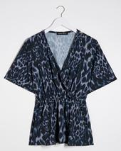 Blue Print Wrap Blouse in Navy