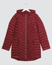 Burgundy Lightweight Padded Mid Length Jacket in Red